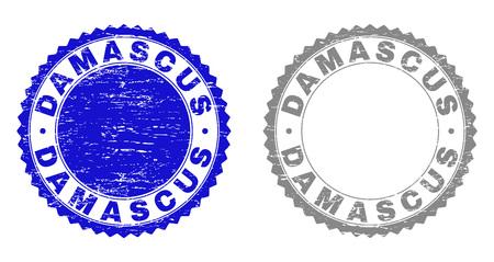 Sellos de sello Grunge DAMASCO aislados sobre fondo blanco. Sellos de roseta con textura grunge en colores azul y gris. Imitación de sello de goma de vector del título DAMASCUS dentro de roseta redonda.