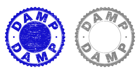 Grunge DAMP stamp seals isolated on a white background. Rosette seals with grunge texture in blue and grey colors. Vector rubber stamp imprint of DAMP caption inside round rosette.