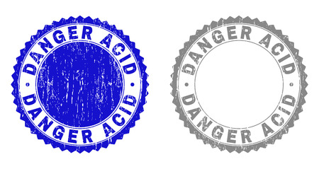 Grunge DANGER ACID stamp seals isolated on a white background. Rosette seals with distress texture in blue and gray colors. Vector rubber stamp imprint of DANGER ACID label inside round rosette. 向量圖像
