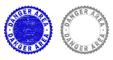 Grunge DANGER AREA stamp seals isolated on a white background. Rosette seals with grunge texture in blue and gray colors. Vector rubber watermark of DANGER AREA caption inside round rosette.