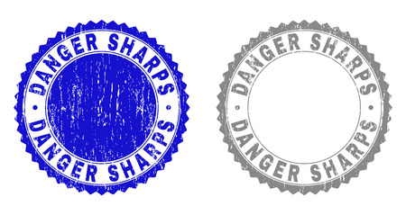 Grunge DANGER SHARPS stamp seals isolated on a white background. Rosette seals with distress texture in blue and gray colors. Vector rubber stamp imprint of DANGER SHARPS text inside round rosette.