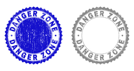 Grunge DANGER ZONE watermarks isolated on a white background. Rosette seals with grunge texture in blue and gray colors. Vector rubber stamp imprint of DANGER ZONE title inside round rosette.