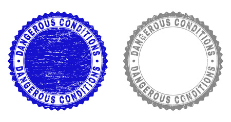 Grunge DANGEROUS CONDITIONS stamp seals isolated on a white background. Rosette seals with grunge texture in blue and gray colors.
