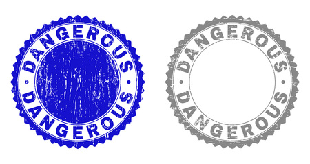 Grunge DANGEROUS stamp seals isolated on a white background. Rosette seals with grunge texture in blue and gray colors. Vector rubber overlay of DANGEROUS label inside round rosette.