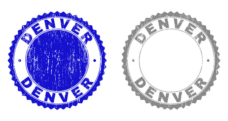Grunge DENVER stamp seals isolated on a white background. Rosette seals with grunge texture in blue and gray colors. Vector rubber stamp imprint of DENVER title inside round rosette. Иллюстрация