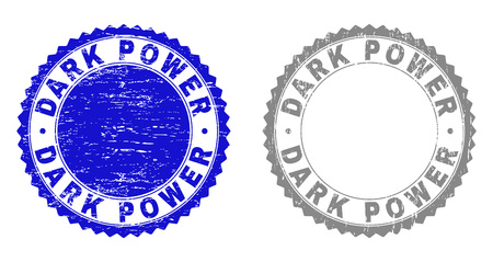 Grunge DARK POWER stamp seals isolated on a white background. Rosette seals with distress texture in blue and gray colors. Vector rubber stamp imitation of DARK POWER tag inside round rosette. Vector Illustratie