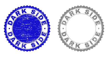 Grunge DARK SIDE stamp seals isolated on a white background. Rosette seals with grunge texture in blue and gray colors. Vector rubber stamp imitation of DARK SIDE label inside round rosette.