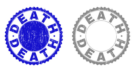 Grunge DEATH stamp seals isolated on a white background. Rosette seals with grunge texture in blue and gray colors. Vector rubber stamp imitation of DEATH caption inside round rosette. Vetores