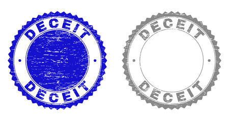 Grunge DECEIT stamp seals isolated on a white background. Rosette seals with grunge texture in blue and grey colors. Vector rubber stamp imprint of DECEIT label inside round rosette.