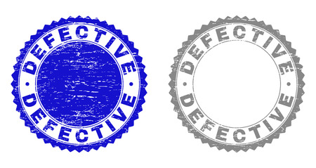 Grunge DEFECTIVE stamp seals isolated on a white background. Rosette seals with distress texture in blue and grey colors. Vector rubber stamp imprint of DEFECTIVE label inside round rosette. Foto de archivo - 116384742