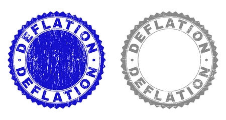 Grunge DEFLATION stamps isolated on a white background. Rosette seals with grunge texture in blue and grey colors. Vector rubber stamp imprint of DEFLATION label inside round rosette.