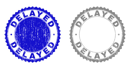 Grunge DELAYED stamp seals isolated on a white background. Rosette seals with grunge texture in blue and gray colors. Vector rubber overlay of DELAYED caption inside round rosette. Archivio Fotografico - 125523240