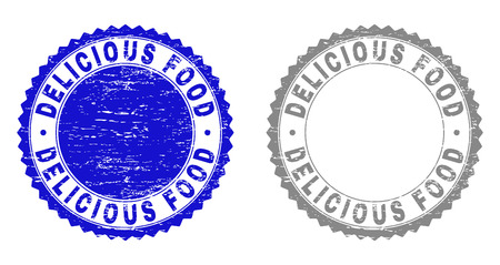 Grunge DELICIOUS FOOD watermarks isolated on a white background. Rosette seals with grunge texture in blue and gray colors. Vector rubber stamp imitation of DELICIOUS FOOD text inside round rosette.
