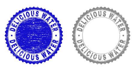 Grunge DELICIOUS WATER stamp seals isolated on a white background. Rosette seals with grunge texture in blue and grey colors. Vector rubber stamp imprint of DELICIOUS WATER text inside round rosette.