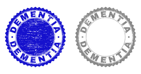 Grunge DEMENTIA stamp seals isolated on a white background. Rosette seals with grunge texture in blue and gray colors. Vector rubber stamp imprint of DEMENTIA label inside round rosette.