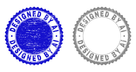 Grunge DESIGNED BY AI stamp seals isolated on a white background. Rosette seals with grunge texture in blue and grey colors. Vector rubber stamp imprint of DESIGNED BY AI text inside round rosette.