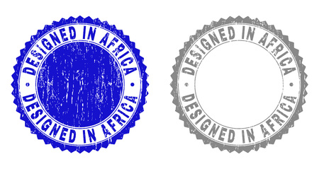 Grunge DESIGNED IN AFRICA stamp seals isolated on a white background. Rosette seals with grunge texture in blue and gray colors. Vector rubber overlay of DESIGNED IN AFRICA title inside round rosette.