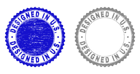 Grunge DESIGNED IN U.S. stamp seals isolated on a white background. Rosette seals with grunge texture in blue and grey colors. Vector rubber stamp imitation of DESIGNED IN U.S.