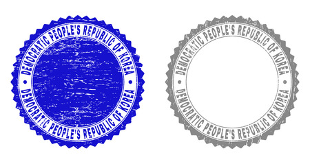 Grunge DEMOCRATIC PEOPLES REPUBLIC OF KOREA stamp seals isolated on a white background. Rosette seals with distress texture in blue and gray colors.