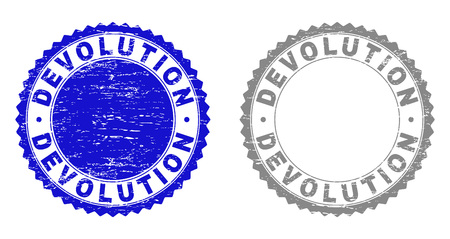 Grunge DEVOLUTION stamp seals isolated on a white background. Rosette seals with grunge texture in blue and gray colors. Vector rubber stamp imitation of DEVOLUTION label inside round rosette.