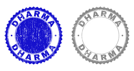 Grunge DHARMA stamp seals isolated on a white background. Rosette seals with grunge texture in blue and grey colors. Vector rubber stamp imprint of DHARMA tag inside round rosette. Illustration