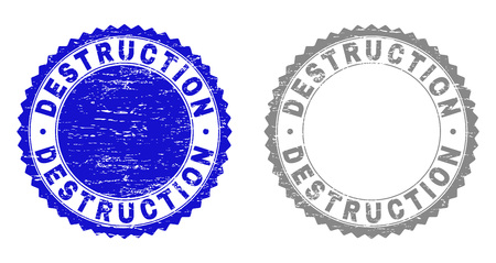 Grunge DESTRUCTION stamp seals isolated on a white background. Rosette seals with grunge texture in blue and grey colors. Vector rubber stamp imitation of DESTRUCTION tag inside round rosette.