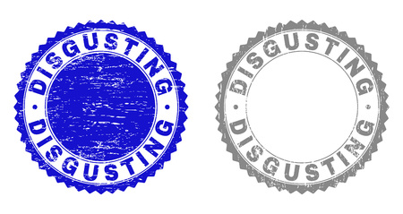 Grunge DISGUSTING stamp seals isolated on a white background. Rosette seals with distress texture in blue and gray colors. Vector rubber stamp imprint of DISGUSTING tag inside round rosette.