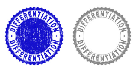 Grunge DIFFERENTIATION stamp seals isolated on a white background. Rosette seals with distress texture in blue and grey colors.