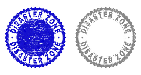 Grunge DISASTER ZONE stamp seals isolated on a white background. Rosette seals with grunge texture in blue and grey colors. Vector rubber stamp imitation of DISASTER ZONE tag inside round rosette.