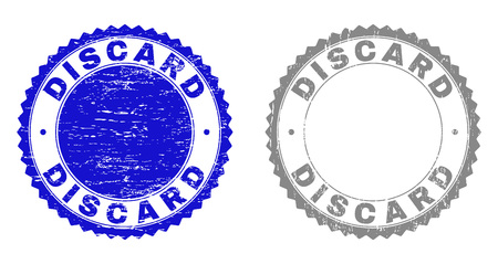 Grunge DISCARD stamp seals isolated on a white background. Rosette seals with grunge texture in blue and grey colors. Vector rubber stamp imitation of DISCARD text inside round rosette.