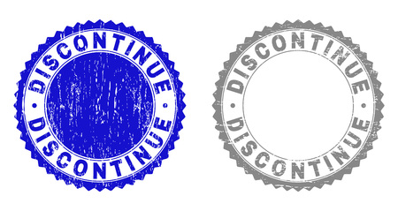 Grunge DISCONTINUE stamp seals isolated on a white background. Rosette seals with grunge texture in blue and grey colors. Vector rubber stamp imprint of DISCONTINUE text inside round rosette. Ilustração