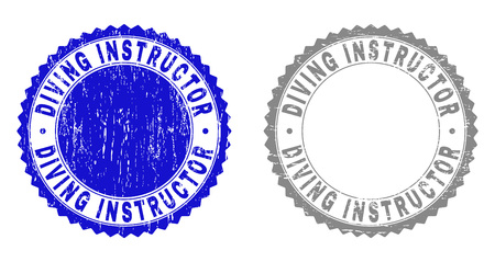 Grunge DIVING INSTRUCTOR stamp seals isolated on a white background. Rosette seals with grunge texture in blue and gray colors.