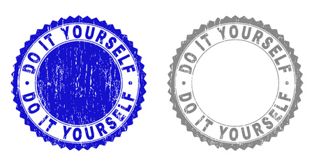 Grunge DO IT YOURSELF stamp seals isolated on a white background. Rosette seals with distress texture in blue and grey colors.
