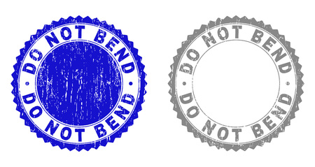 Grunge DO NOT BEND stamp seals isolated on a white background. Rosette seals with grunge texture in blue and grey colors. Vector rubber stamp imitation of DO NOT BEND caption inside round rosette.