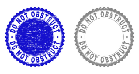 Grunge DO NOT OBSTRUCT stamp seals isolated on a white background. Rosette seals with grunge texture in blue and gray colors. Vector rubber stamp imprint of DO NOT OBSTRUCT tag inside round rosette.