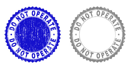 Grunge DO NOT OPERATE stamps isolated on a white background. Rosette seals with grunge texture in blue and grey colors. Vector rubber stamp imitation of DO NOT OPERATE text inside round rosette. Иллюстрация