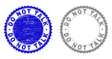 Grunge DO NOT TALK stamp seals isolated on a white background. Rosette seals with grunge texture in blue and gray colors. Vector rubber stamp imitation of DO NOT TALK tag inside round rosette. Иллюстрация