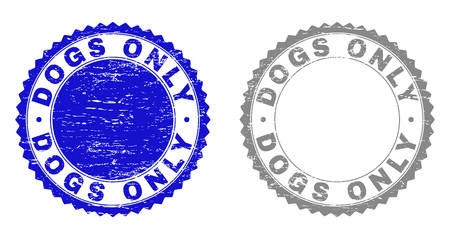 Grunge DOGS ONLY stamp seals isolated on a white background. Rosette seals with distress texture in blue and gray colors. Vector rubber stamp imitation of DOGS ONLY caption inside round rosette. Иллюстрация