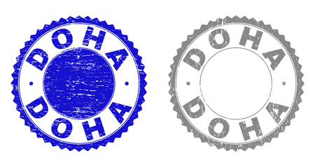 Grunge DOHA stamp seals isolated on a white background. Rosette seals with distress texture in blue and grey colors. Vector rubber stamp imitation of DOHA tag inside round rosette.