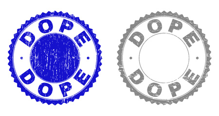 Grunge DOPE stamp seals isolated on a white background. Rosette seals with grunge texture in blue and grey colors. Vector rubber stamp imitation of DOPE title inside round rosette.
