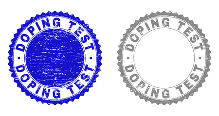 Grunge DOPING TEST stamp seals isolated on a white background. Rosette seals with grunge texture in blue and gray colors. Vector rubber stamp imitation of DOPING TEST label inside round rosette.
