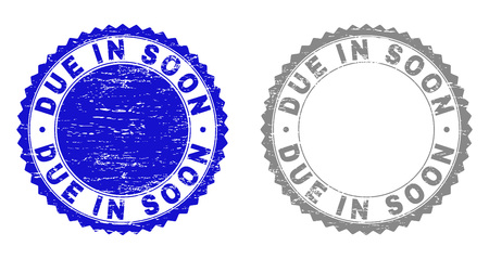 Grunge DUE IN SOON stamp seals isolated on a white background. Rosette seals with distress texture in blue and grey colors. Vector rubber stamp imitation of DUE IN SOON title inside round rosette.  イラスト・ベクター素材
