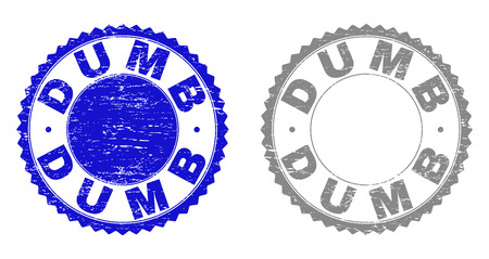 Grunge DUMB stamp seals isolated on a white background. Rosette seals with distress texture in blue and gray colors. Vector rubber stamp imitation of DUMB label inside round rosette.