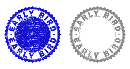 Grunge EARLY BIRD stamp seals isolated on a white background. Rosette seals with grunge texture in blue and gray colors. Vector rubber watermark of EARLY BIRD caption inside round rosette.