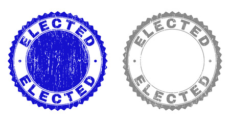 Grunge ELECTED stamp seals isolated on a white background. Rosette seals with grunge texture in blue and gray colors. Vector rubber watermark of ELECTED caption inside round rosette.