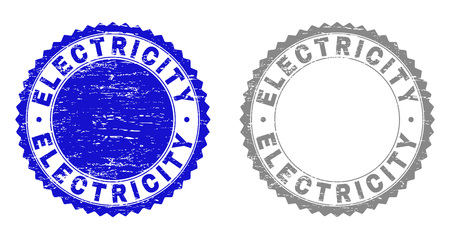 Grunge ELECTRICITY stamp seals isolated on a white background. Rosette seals with grunge texture in blue and grey colors. Vector rubber watermark of ELECTRICITY label inside round rosette.