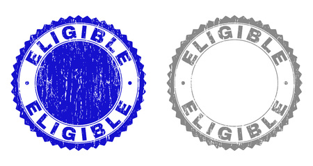 Grunge ELIGIBLE stamp seals isolated on a white background. Rosette seals with grunge texture in blue and grey colors. Vector rubber overlay of ELIGIBLE label inside round rosette.  イラスト・ベクター素材