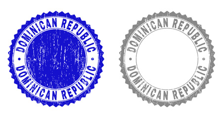 Grunge DOMINICAN REPUBLIC stamp seals isolated on a white background. Rosette seals with grunge texture in blue and gray colors.