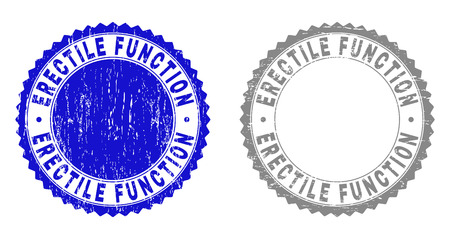 Grunge ERECTILE FUNCTION stamp seals isolated on a white background. Rosette seals with grunge texture in blue and gray colors.