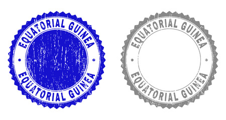 Grunge EQUATORIAL GUINEA stamp seals isolated on a white background. Rosette seals with distress texture in blue and grey colors.